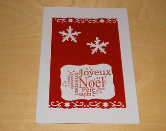 Merry Christmas embossed card pea