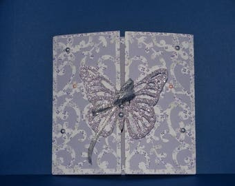 Floral card Butterfly birth announcement
