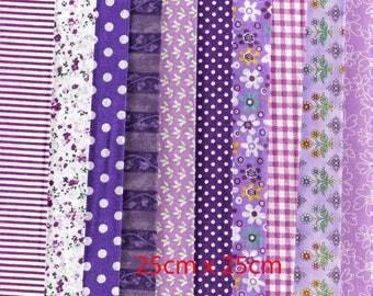 Lot de 10 coupons coton violets 25cm x 25cm.