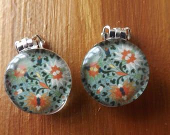 Clip-on round earrings, clipon blue earrings, flowers earrings, clip-on flowery earrings, unpierced earrings, non-pierced earrings