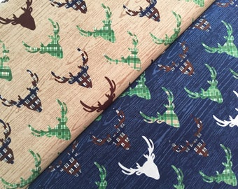 Riley Blake THE GREAT OUTDOORS Stag Cotton Fabric **Navy or Tan**