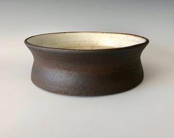Modern serving bowl fruit bowl décor handmade wheel thrown black clay body matte white glaze Haight Pottery Company