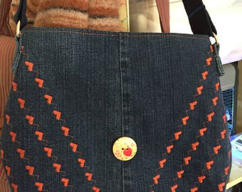 Embroidered denim bag with hearts, recycled blue jeans purse, girls bag