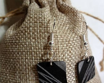Black and silver square earrings