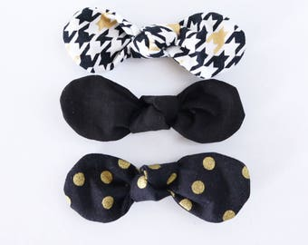 LAST CHANCE: Gatsby Fabric Twist Knot Bow Hair Clip Set-STANDARD Size // Girls Hair Accessory // Houndstooth, Black, Gold Dot