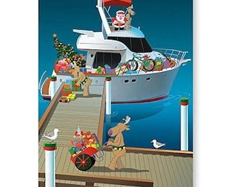 Santa Loads the Boat - Nautical Theme Christmas Card - 18 Cards & Envelopes - 60002
