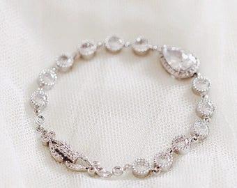 Bridal Bracelet Wedding Jewelry For Brides Wedding Bracelet Teardrop Crystal Bracelet CZ Bracelet Bridal Jewelry