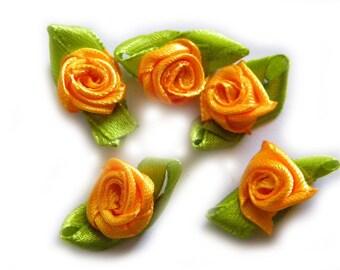 30 Orange Flower Ribbon Appliqué