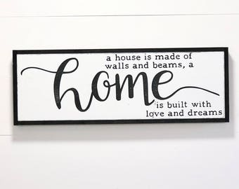 A house is made of walls & beams, a home is built with love and dreams, Farmhouse Sign, Framed Wood Sign, Fixer Upper, Farmhouse Decor