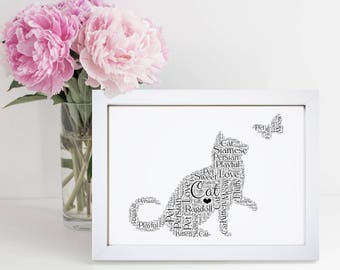 Personalised Name Cat Lover Animal Pet Word Wall Art Picture Cloud Gift
