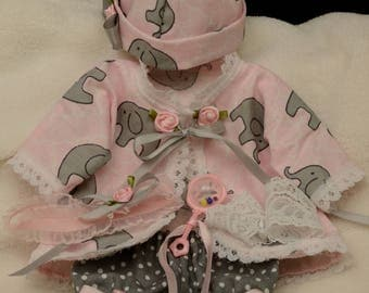 "10"" to 12""  outfit for micro mini reborn baby dolls 5pc set"