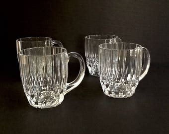 Cristal D'Arques Durand Crystal Mugs, Set of 4, Bretagne Pattern, Made in France, 10 Fluid Ounces