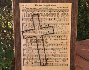 MADE TO ORDER Rugged Cross Sheet Music String Art Sign
