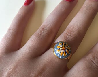 Blue Floral Hand-painted Ring