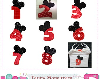 Mickey Numbers applique,Birthday numbers applique,Mickey applique,Birthday design,Numbers design,Mickey applique.