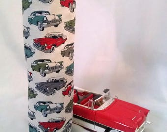 wine gift tote, 50's style antique cars, fun gift idea for the car lover, beverage carrier, birthday gift for him or her, Father's Day