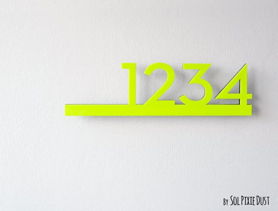 Modern House Numbers Neon Yellow with Black Acrylic