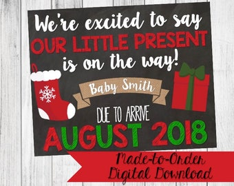 Christmas Pregnancy Announcement Chalkboard Sign Little Present{Digital Download}
