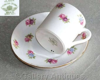Vintage Art Deco RH & SL Plant Tuscan China Coffee cup Can and Saucer with Floral Rose Decoration Pattern 7807 c.1930's (ref: GY220808)