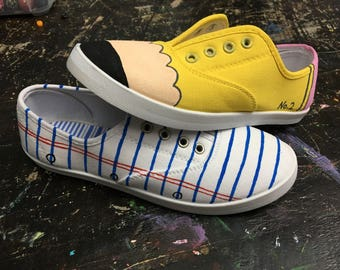 Pencil and paper handpainted shoes