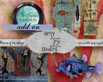 Mermaid Lagoon ADD ON Kit  Mermaid Journal  Tags  Ephemera Pack  Vintage Journal  Junk Journal  Papercrafts  Digital Download  Gift Tags