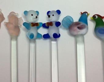 Frosted GLASS Swizzle STICKS TeddyBears Elephants Chickens Cute Barware Drinks Decor