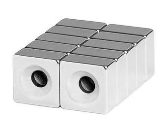 1/2 x 1/2 x 1/4 Inch Neodymium Rare Earth Countersunk Block Magnets N48 (10 Pack)
