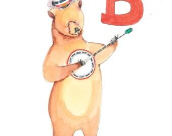 Bear-Banjo-5X7-8x10-Alphabet letter B-Unframed-Baby gift-Nursery room art-Educational-Children's room decor-Kids rooms-Musical baby gift