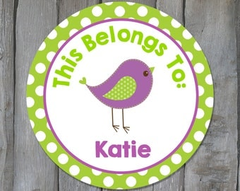 Personalized Back to School Name Stickers - Green & Purple Bird Child Name Labels - School Supply Labels - Buy 3 Get 1 Free