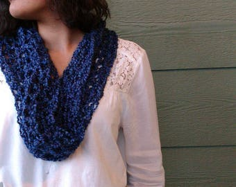 Scarf, blue capelet, cowl,  hooded scarf, winter fashion, women's wrap, accessories for her, holiday gift