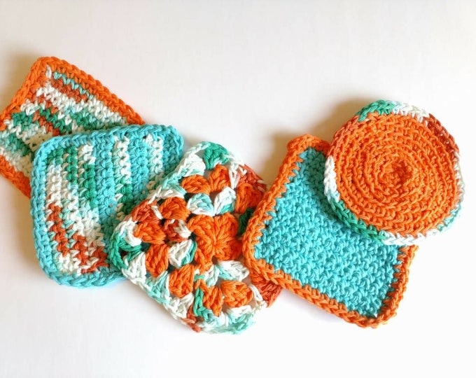 Featured listing image: Coasters orange blue retro 70s inspired crochet coasters seventies housewarming gift kitchen dining decor home and living