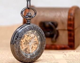 1 Black Mechanical Pocket Watch Necklace Watch Wedding Gift -C065