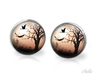Stud Earrings mystical landscape 17