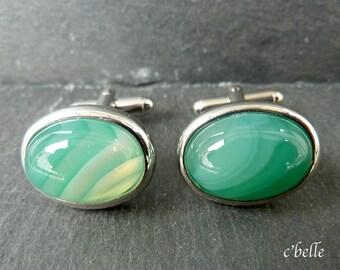 Cufflinks Green Agate Ø 13 x 18 mm