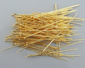 "Gold Plated 50mm (2"") Headpins, 21 Gauge, 20, 50 or 100"