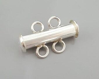 Sterling Silver .925 Multi-strand 2 Strand Tube Slide Clasp - 1 Piece