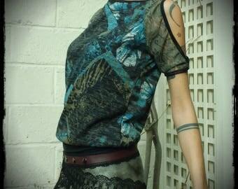 top shirt lace, Bare shoulders, tee shirt festival goa trance, psytrance ozora boho top, lace, handmade