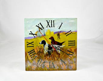 Wall Clock Hunter / Decoupage wall clock