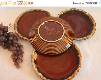"""Summer Sun Sale Set of 4 Hull Pottery 6.75"""" Bread or Dessert Plates - Brown Drip, Oven Proof USA"""