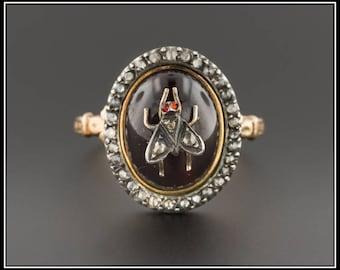 Antique Garnet & Diamond Fly Ring   Antique Victorian Ring   14k Gold Antique Garnet Ring   Statement Ring   Antique Ring