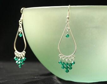 Emerald Green Dangly Swarovski Earrings