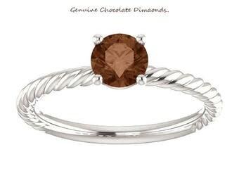 0.50 Carat Genuine Round Chocolate Diamond Designer Style Rope Design Ring