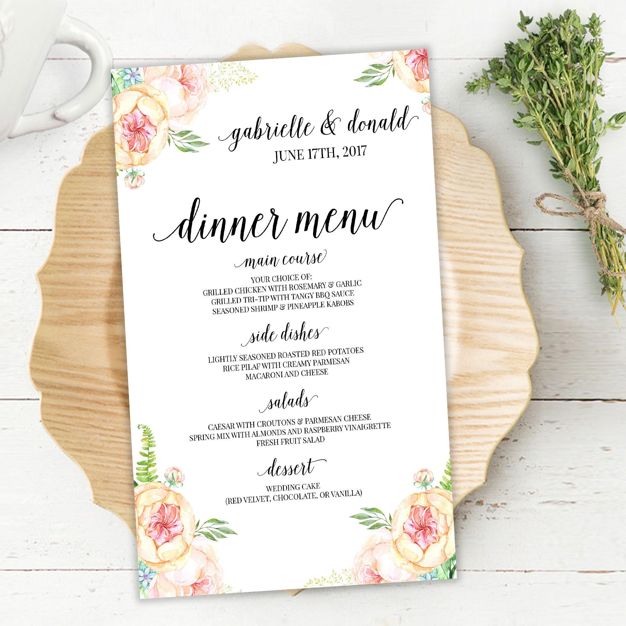 Wedding Reception Food Menu: Printable Wedding Reception Menu, Dinner Menu, Blush