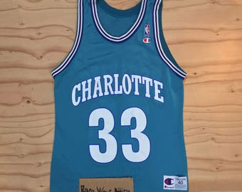 Vintage champion nba jersey charlotte hornets alonzo mourning sz 40 bogues