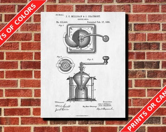 Coffee Grinder Patent Print Kitchen Wall Art Poster Coffee Grinder Blueprint Cafe Art Coffee Poster
