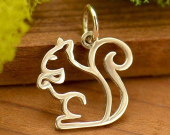 Sterling Silver Squirrel Charm.