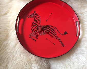 """Hand Painted Scalamandre Zebra tray 15"""" round tray Red and Black"""
