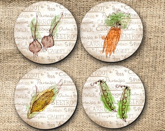 Coaster - Drinking Coaster, Country Kitchen Style, Vegetable, Tomatoes, Pumpkins, Carrots, Beets, Corn, Peas, Farmers Gift - (0017)