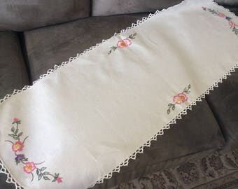 Hand embroidered Linen Table Runner or Dresser Scarf