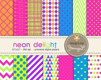 50% OFF Neon Digital papers, Neon Green, Pink, Blue, Orange, Violet, for Digital Scrapbooking, Invites
